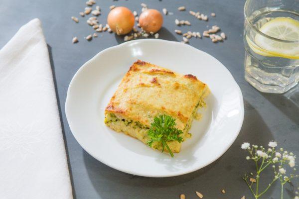 Torta de couve flor com brocolis queijo gruyere