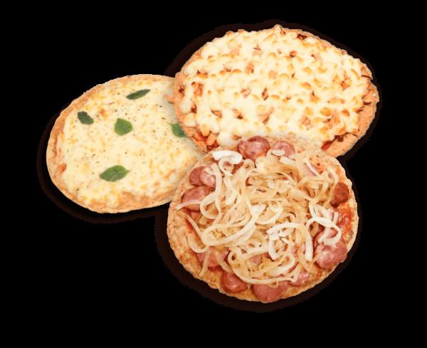 Foto das 3 pizzas da Comida Boa